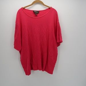 Lane Bryant Pink Short Sleeve Solid Blouse